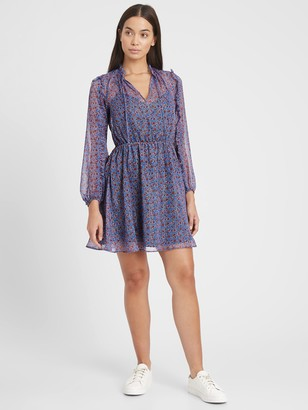 Banana Republic Petite Metallic Floral Ruffled Mini Dress
