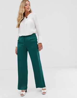 Vila satin wide leg suit trousers-Green