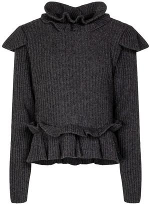 Ganni Wool-blend open-back sweater
