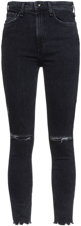 Thumbnail for your product : Rag & Bone Nina Cropped Distressed High-rise Skinny Jeans