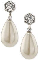 Lauren Ralph Lauren Silver-Tone Crystal & Imitation Pearl Drop Earrings