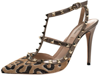 Valentino Metallic/Beige Leopard Print Calfhair and Leather Rockstud Pointed Toe Sandals Size 39.5