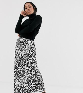 Asos DESIGN Petite bias maxi skirt in mono leopard
