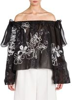 Fendi Off-The-Shoulder Sequin-Embroidered Organza Blouse