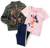 Flapdoodles Girls 4-6x) 3-Piece Floral Embroidered Bomber Jacket & Leggings Set