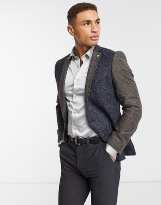 Twisted Tailor skinny suit jacket in contrast fleck