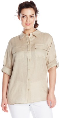 Calvin Klein Women's Plus-Size Modern Essential Linen Roll Sleeve Top with Inset