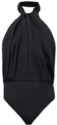 Sara Battaglia Twisted-halterneck Crepe Bodysuit - Black
