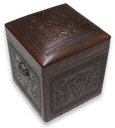 Hand Tooled Leather Hardwood Ottoman Chest from Peru, 'Colonial Elegance'