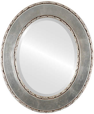 """The Oval And Round Mirror Store Paris Framed Oval Mirror in Silver Leaf with Brown Antique, 17""""x21"""""""