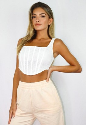 Missguided White Cobweb Lace Corset Crop Top