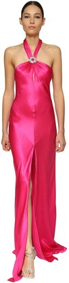 Azzaro Silk Satin Long Dress W/ Crystal Buckle