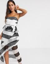Asos Design DESIGN bandeau mono stripe lace midi pencil dress in monochrome