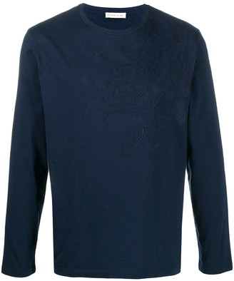 Etro paisley-embroidered long-sleeved T-shirt