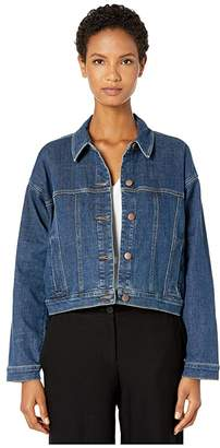 Eileen Fisher Organic Cotton Stretch Denim Classic Cropped Jean Jacket