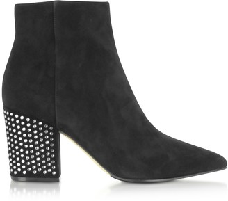 Sergio Rossi Royal Black Boots w/ Silver Crystals Covered Mid-heels
