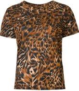 Saint Laurent leopard and feather print T-shirt - women - Cotton - M