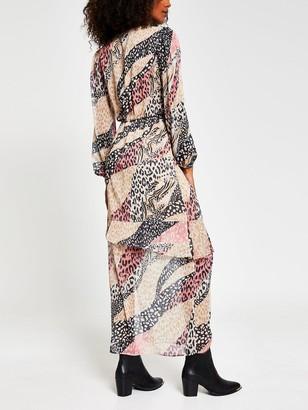 River Island Mixed Animal Print Chiffon Peplum Maxi Dress - Pink