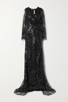 Thumbnail for your product : Naeem Khan Sequined Tulle Gown - Black