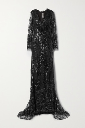 Naeem Khan Sequined Tulle Gown - Black