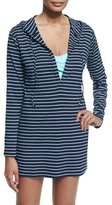 Tommy Bahama Striped Long-Sleeve Hooded Coverup