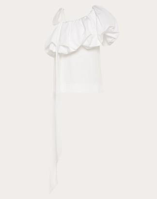 Valentino Micro-faille One-shoulder Top Women White Cotton 54%, Polyester 46% 46