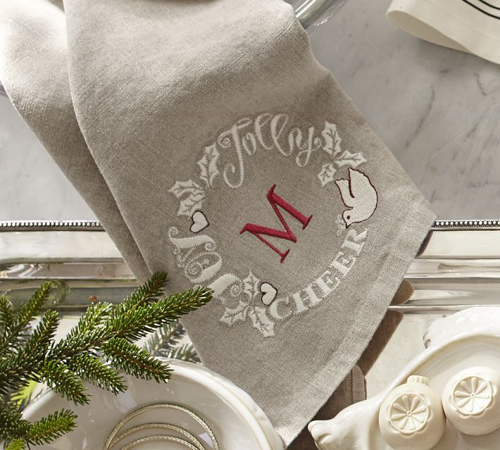 Pottery Barn Joy Embroidered Wreath Guest Towel, Set of 2
