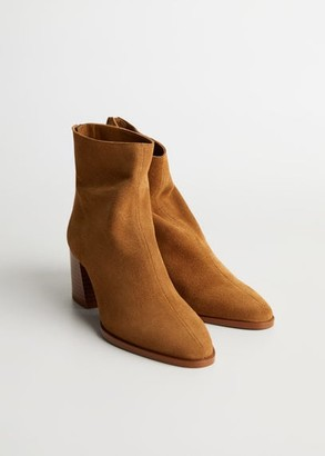 MANGO Heel leather ankle boot sand - 6 - Women