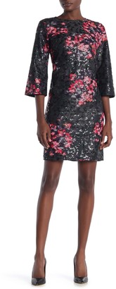 trina Trina Turk Grenandine Floral Print Perforated Dress