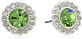 Vera Bradley Pave Silver Tone with Green Stud Earrings