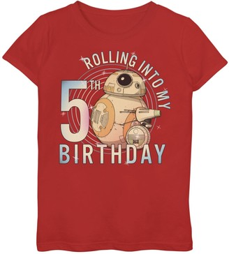 Star Wars Girls 7-16 BB-8 & D-O Rolling Into My 5th Birthday Graphic Tee