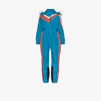 Sweaty Betty Womens Blue Alps Hooded Ski Jumpsuit