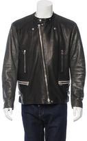 Lanvin Python-Trimmed Leather Jacket