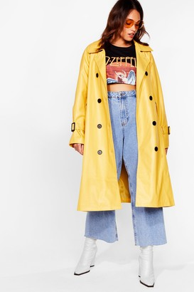 Nasty Gal Womens Time is on My Shine Plus Belted Trench Coat - Yellow - 16