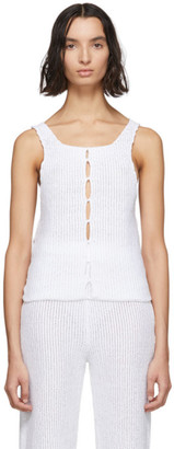 Eckhaus Latta White Scallop Tank Top