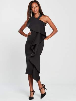 Lavish Alice Scuba Exaggerated Frill Halter Neck Midi Dress- Black