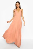 boohoo Chiffon Pleated Plunge Maxi Bridesmaid Dress