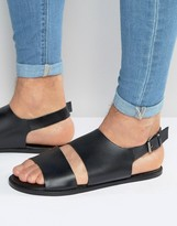 Asos Sandals in Black Leather With Cut Out