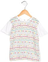 Stella McCartney Girls' Silk-Paneled Floral Print Top