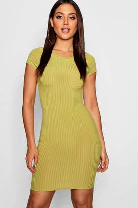 boohoo Ribbed Cap Sleeved Bodycon Dress