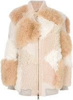 Chloé patchwork shearling jacket - women - Lamb Skin/Sheep Skin/Shearling/Viscose/Wool - 40