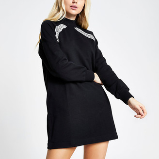 River Island Black RI tape long sleeve sweatshirt dress