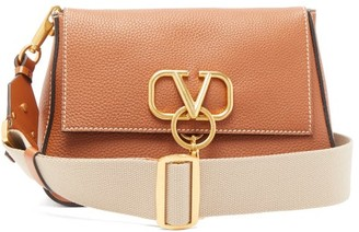 Valentino V-ring Medium Grained-leather Cross-body Bag - Womens - Brown