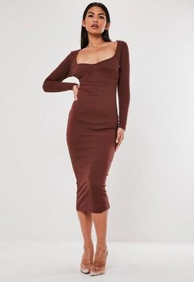 Missguided Chocolate Rib Bust Cup Bodycon Midi Dress