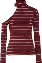 W118 By Walter Baker Chrissy One-Shoulder Striped Ribbed-Knit Turtleneck Sweater