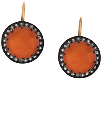Andrea Fohrman Carnelian And Grey Sapphire Button Earrings