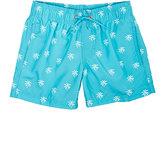 Sundek Palm-Tree-Print Swim Trunks-BLUE