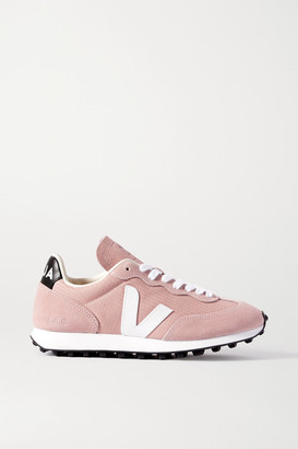 Veja Net Sustain Rio Branco Leather-trimmed Suede And Mesh Sneakers - Blush