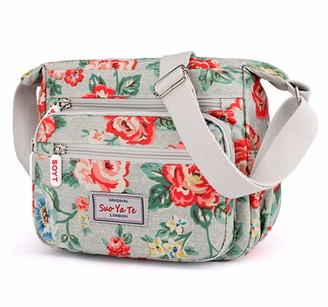 Yyw Womens Multi-Pocket Casual Crossbody Handbags Waterproof Flowral Printed Shoulder Nylon Bags Travel Messenger Bags (Butterfly-White)