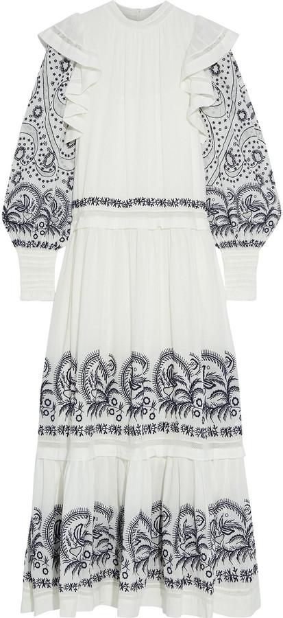 Ulla Johnson Ruffled Embroidered Cotton Maxi Dress